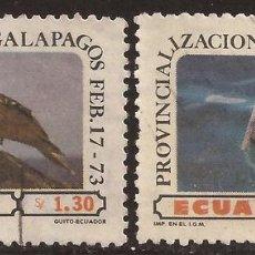 Francobolli: ECUADOR A- 573/74 1973 PROVINCIALIZACIÓN ISLAS GALÁPAGOS FAUNA PÁJARO BIRD USADO. Lote 123925331