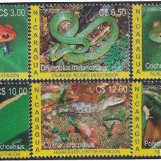 Sellos: NICARAGUA 2630/2635 2005 FAUNA EN VÍAS DE EXTINCIÓN MNH. Lote 123932660