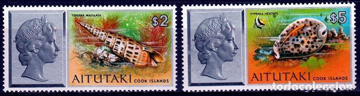 1975. AITUTAKI, COOK ISLANDS. SERIE. REINA ISABEL Y CONCHAS MARINAS **.MNH (Sellos - Extranjero - Oceanía - Otros paises)