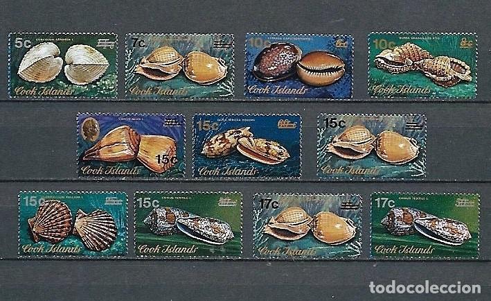 ISLAS COOK,1973,SERIE GENERAL, SOBRECARGADOS,CONCHAS,NUEVOS,MNH**,YVERT 487-497 (Sellos - Extranjero - Oceanía - Otros paises)