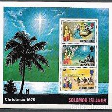 Sellos: ISLAS SALOMON,1975,NAVIDAD,NUEVOS,MNH**,YVERT HOJA BLOQUE 4. Lote 130759313