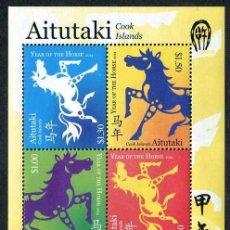 Sellos: AITUTAKI - AÑO LUNAR DEL CABALLO - HB (2014) **. Lote 136810714