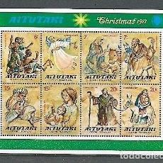 Sellos: AITUTAKI,ISLAS COOK,1977,NAVIDAD, HOJA BLOQUE,YVERT 16,NUEVOS,MNH**. Lote 143004478