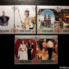 Sellos: ISLAS COOK. YVERT 454/9. SERIE COMPLETA NUEVA SIN CHARNELA. REINA ISABEL II DE INGLATERRA.. Lote 143646489