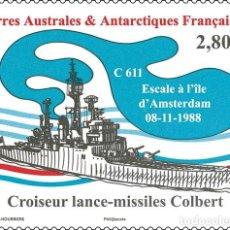 Sellos: TAAF 2019 - BATEAU CROISEUR LANCE-MISSILES COLBERT MNH. Lote 147643590