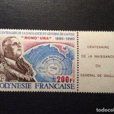 Sellos: POLINESIA FRANCESA, Nº YVERT 364*** AÑO 1990. CENTENARIO NACIMIENTO DEL GENERAL DE GAULLE. Lote 156398842