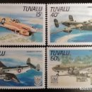 Sellos: 1985. AVIONES. TUVALU. 315 / 318. MODELOS DE COMBATE. SERIE COMPLETA. NUEVO.. Lote 161950446