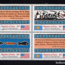 Sellos: PALAU 1/4** - AÑO 1983 - INAGURACIÓN DEL SERVICIO POSTAL DE PALAU. Lote 211838211