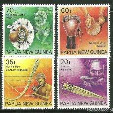 Sellos: PAPUA Y NUEVA GUINEA 1990 IVERT 622/25 *** INSTRUMENTOS DE MÚSICA INDIGENAS. Lote 176921142