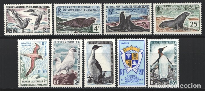 TERRITORIO ANTÁRTICO FRANCES, 1959-63 YVERT Nº 12 / 17, FAUNA MARINA, FOCAS, PINGÜINOS, AVES, (Sellos - Extranjero - Oceanía - Otros paises)
