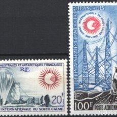Sellos: TERRITORIO ANTÁRTICO FRANCES, 1963 YVERT Nº 29 / 30, AÑO INTERNACIONAL DEL SOL, AVES / PINGÜINOS. . Lote 179117695