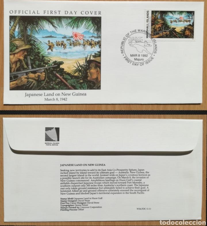 ISLAS MARSHALL 1992 SEGUNDA GUERRA MUNDIAL OCUPACIÓN JAPONESA DE NUEVA GUINEA W36 SPD FDC (Sellos - Extranjero - Oceanía - Otros paises)