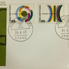 Sellos: SOBRE PRIMER DIA. AIR MAIL. UNIVERSAL SUFRAGE. PORT MORESBY. PAPUA NEW GUINEA, 1968. . Lote 186861927