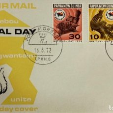 Sellos: SOBRE PRIMER DIA. AIR MAIL. NATIONAL DAY. PORT MORESBY. PAPUA NEW GUINEA, 1968. . Lote 186862647