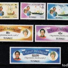 Sellos: TUVALU 155/60** - AÑO 1981 - BARCOS - BODA DEL PRÍNCIPE CHARLES Y DIANA SPENCER. Lote 194603988