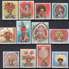 Sellos: PAPUA Y NUEVA GUINEA, 1977 YVERT Nº 318 / 319, 340 / 345, 346 / 349, TOCADOS VEGETALES REGIONALES . Lote 199525480