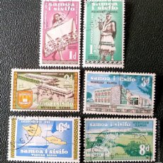 Timbres: SAMOA. 164/66, 168/69 INDEPENDENCIA: JÓVENES, LIBRERÍA, PARLAMENTO, MAPA, AEROPUERTO. 1962. SELLOS U. Lote 204785993