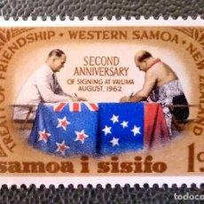 Timbres: SAMOA. 178 ANIVERSARIO DEL TRATADO DE AMISTAD CON NUEVA ZELANDA: FIRMA DEL TRATADO. 1964. SELLOS NUE. Lote 204786000