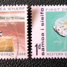 Timbres: SAMOA. 187/88 INAUGURACIÓN DEL MUELLE DE AGUAS PROFUNDAS. 1966. SELLOS USADOS CON CHARNELA Y NUMERAC. Lote 204786020