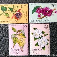 Timbres: SAMOA. 349/52 FLORES: PASSIFLORA, GARDENIA, BARRINGTONIA, MALAY APPLE. 1975. SELLOS NUEVOS CON CHARN. Lote 204786030