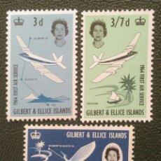 Sellos: GILBERT & ELLICE. 77/79 INAUGURACIÓN DEL SERVICIO AÉREO ENTRE ISLAS. AVIONES. 1964. SELLOS NUEVOS Y. Lote 205084075