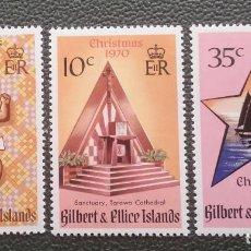 Sellos: GILBERT & ELLICE. 165/67 NAVIDAD: NIÑO, ALTAR, ESTRELLA Y VELEROS. 1970. SELLOS NUEVOS Y NUMERACIÓN. Lote 205084082