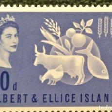 Sellos: GILBERT & ELLICE. 74 CAMPAÑA MUNDIAL CONTRA EL HAMBRE:VACA, GALLINA, CEREALES, PEZ. 1963SELLOS NUEVO. Lote 205084101