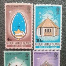 Sellos: GILBERT & ELLICE. 244/47 NAVIDAD. DIBUJOS DE ARTISTAS LOCALES. 1975. SELLOS NUEVOS Y NUMERACIÓN YVER. Lote 205084102