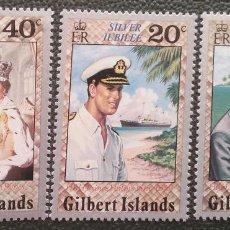 Sellos: GILBERT. 41/43 ANIVERSARIO ASCENSIÓN AL TRONO ISABEL II. PRÍNCIPE CARLOS. 1977. SELLOS NUEVOS Y NUME. Lote 205084107