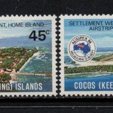 Sellos: COCOS 120/21** - AÑO 1984 - EXPOSICION FILATELICA INTERNACIONAL AUSIPEX 84 - PAISAJES. Lote 297391818