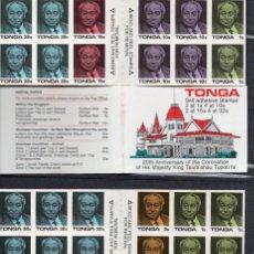Sellos: TONGA/1988/MNH/SC#LOT #1/ CORONACION DEL REY TAUFA ´AHUA 20TH ANNIV /BOOKLETS (2). Lote 208593171