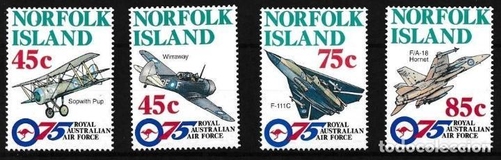 NORFOLK 1996 IVERT 597/600 *** 75º ANIVERSARIO DE LAS FUERZAS AEREAS REALES AUSTRALIANAS - AVIONES (Sellos - Extranjero - Oceanía - Otros paises)
