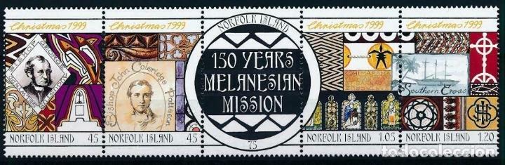 NORFOLK 1999 IVERT 679/83 *** NAVIDAD - 150º ANIVERSARIO DE LA MISIÓN MELANERIANA (Sellos - Extranjero - Oceanía - Otros paises)