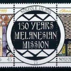 Sellos: NORFOLK 1999 IVERT 679/83 *** NAVIDAD - 150º ANIVERSARIO DE LA MISIÓN MELANERIANA. Lote 209932080