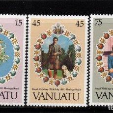 Sellos: VANUATU 628/30** - AÑO 1981 - BODA DEL PRINCIPE CARLOS Y LADY DIANA SPENCER. Lote 210120527