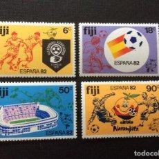 Sellos: FIJI Nº YVERT 461/4** AÑO 1982. CAMPEONATO DEL MUNDO DE FUTBOL, EN ESPAÑA.SERIE CON CHARNELA. Lote 212224648
