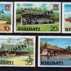 Sellos: KIRIBATI 37/41** SPECIMEM - AÑO 1980 - DESARROLLO DEL TURISMO. Lote 213340533