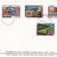 Sellos: SOBRE 1R.DIA CENTENARIO UPU, 1974, COOK ISLANDS , MICHEL 424-427. Lote 213964332