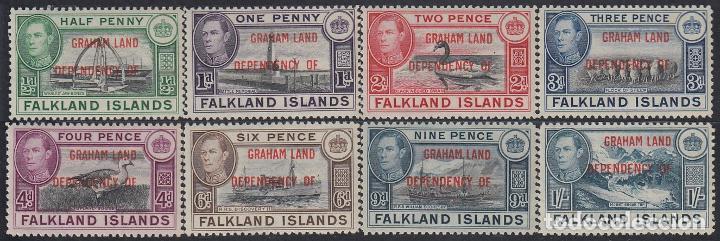 FALKLAND ISLANDS ISLAS MALVINAS 9/16 1944 EFFIGIE DE JORGE VI DEPENDENCIA GRAHAM (Sellos - Extranjero - Oceanía - Otros paises)