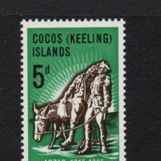 Sellos: COCOS 7** - AÑO 1965 - 50º ANIVERSARIO DE LA LLEGADA DE ANZAC A EUROPA. Lote 218417150