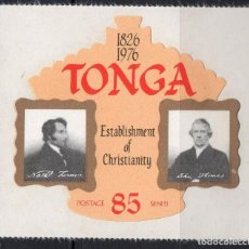Sellos: TONGA/1976/MNH/SC#384/ ESTABLECIMIENTO DE LA IGLESIA CRISTIANA METODISTA / MISIONEROS. Lote 221342542