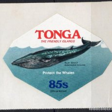 Sellos: TONGA/1977/MNH/SC#CO128/ CONSERVACION DE LA NATURALEZA / BALLENAS / ANIMALES. Lote 221342920