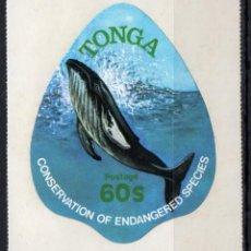 Sellos: TONGA/1978/MNH/SC#448/ CONSERVACION DE LA NATURALEZA / BALLENAS / ANIMALES. Lote 221343043
