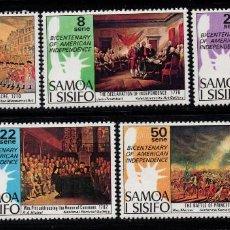 Sellos: SAMOA 367/71** - AÑO 1976 - BICENTENARIO DE LA INDEPENDENCIA DE ESTADOS UNIDOS. Lote 221593587