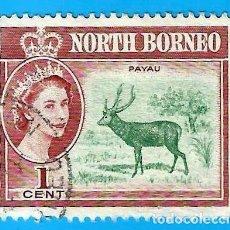 Francobolli: BORNEO DEL NORTE. 1961. CIERVO SAMBAR. REINA ISABEL II. Lote 223686585