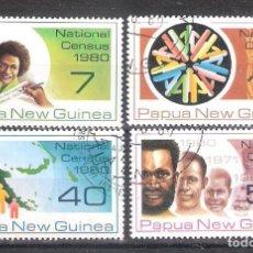 Sellos: PAPÚA - NUEVA GUINEA Nº 389/392º CENSO NACIONAL DE 1980. SERIE COMPLETA. Lote 228338885
