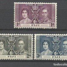 Francobolli: FIJI COLONIA BRITANICA CORONACION GEORGE VI YVERT NUM. 101/103 * SERIE COMPLETA CON FIJASELLOS. Lote 233494620