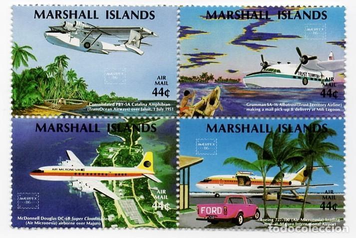 ISLAS MARSHALL - C. AEREO - EXP. FILATELICA INTERNACIONAL / MAPAS DE LAS ISLAS - AMERIPEX 1986 - HB (Sellos - Extranjero - Oceanía - Otros paises)