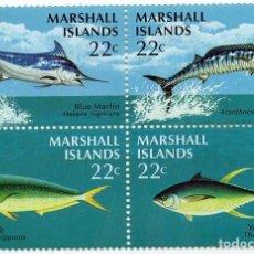 Sellos: ISLAS MARSHALL - FAUNA MARINA / PECES - AÑO 1986 - HB DE 4 SELLOS NUEVA Y PERFECTA. Lote 236263710