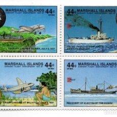 Sellos: ISLAS MARSHALL - C. AEREO - AÑO 1987 - 50 ANIV. DE INTENTO DE VUELO ALREDEDOR MUNDO AMELIA EARHART. Lote 236264725